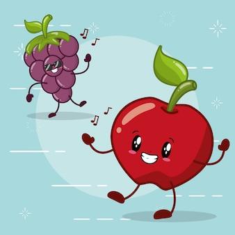 Manzana y uva sonriendo en estilo kawaaii
