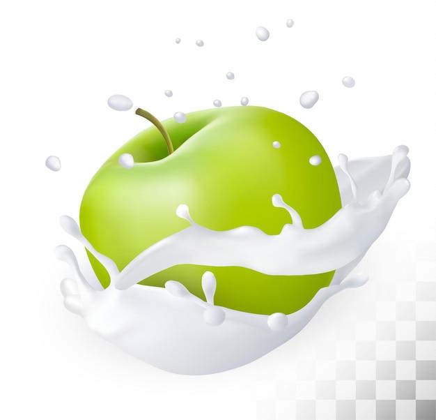 Manzana verde en un chorrito de leche sobre un fondo transparente