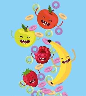 Manzanas felices con fresa y mora con cereal.