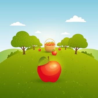 Manzanas en un jardín