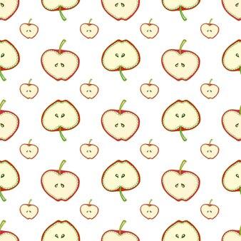 Manzanas de patrones sin fisuras. fondo simple del vector con la fruta. para tela, textil, papel tapiz, envoltura