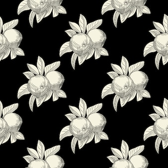 Manzanas de patrones sin fisuras sobre fondo negro. papel tapiz botánico vintage.