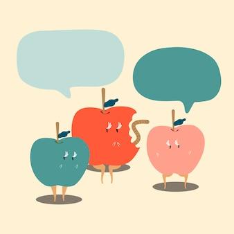 Manzanas con vector de personaje de dibujos animados de burbujas de discurso en blanco