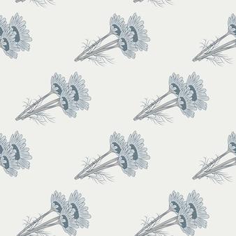 Manzanilla de patrones sin fisuras sobre fondo claro. hermoso adorno de flores de verano gris.