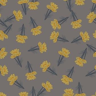 Manzanilla de patrones sin fisuras sobre fondo gris oscuro. hermoso adorno de flores de verano. plantilla de textura aleatoria para tela. ilustración de vector de diseño.