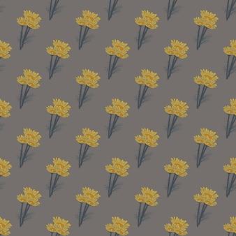 Manzanilla de patrones sin fisuras sobre fondo gris oscuro. hermoso adorno de flores de verano.