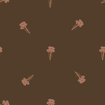 Manzanilla de patrones sin fisuras sobre fondo marrón. hermoso adorno de flores de verano.