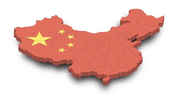 Mapa 3d de china y patrón de provincia y bandera