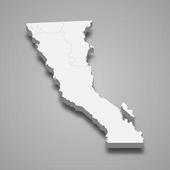 Mapa 3d de la ilustración del estado de baja california de méxico