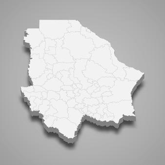 Mapa 3d de la ilustración del estado de chihuahua de méxico