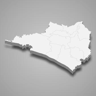 Mapa 3d de la ilustración del estado de colima de méxico