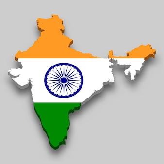 Mapa 3d de la india con bandera nacional.