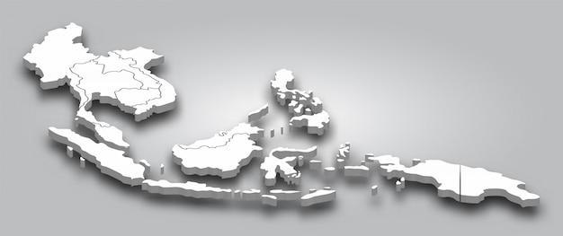 Mapa 3d del sudeste asiático con vista en perspectiva sobre fondo degradado de color gris