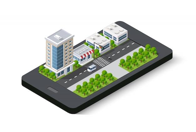 Mapa 3d del teléfono móvil de la ciudad isométrica en la calle.