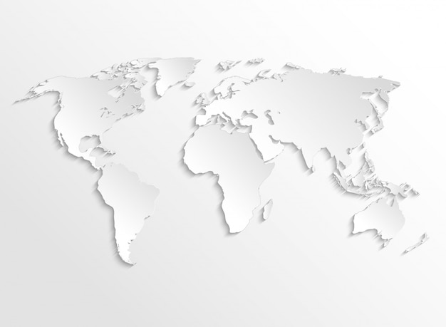 Mapa 3d de la tierra de papel blanco. plantilla de vector para infografía de negocios