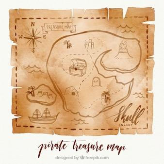 Mapa de acuarela de tesoro con elementos