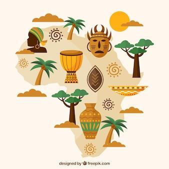 Mapa de africa con elementos en estilo plano
