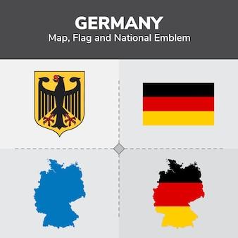 Mapa de alemania, bandera y emblema nacional
