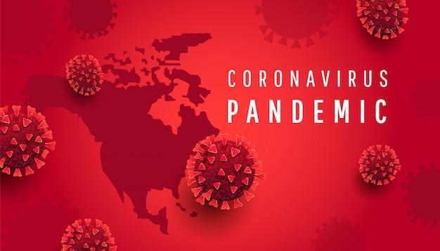 Mapa de américa del norte con texto y bacterias de virus. nuevo coronavirus 2019-ncov. la propagación de la gripe en el mundo, el peligroso virus corona chino ncov