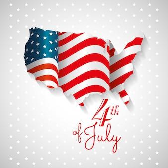 Mapa americano y bandera sobre fondo gris punteado