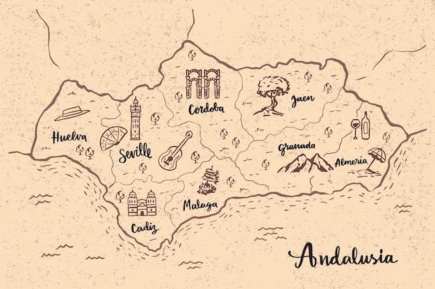 Mapa de andalucía con hitos