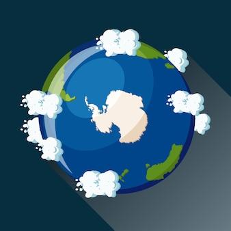Mapa de la antártida en el planeta tierra, vista desde el espacio. icono del globo de la antártida.
