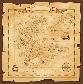 Mapa antiguo, vector pergamino desgastado con el mar caribe y sur, barcos, islas y tierra
