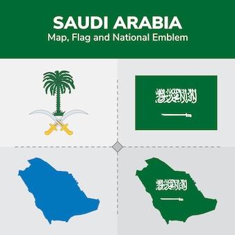 Mapa de arabia saudita, bandera y emblema nacional