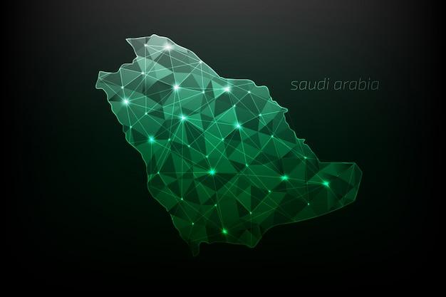 Mapa de arabia saudita poligonal con luces brillantes y líneas