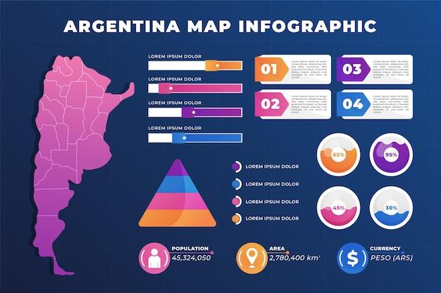 Mapa de argentina degradado infografía