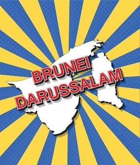 Mapa de arte pop de brunei darussalam