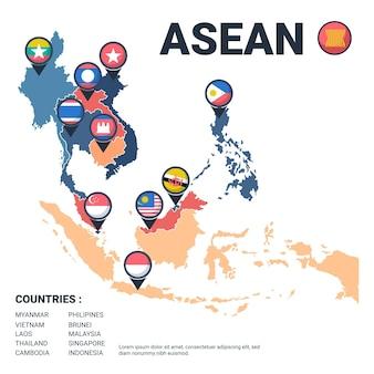 Mapa de la asean con banderas ilustradas