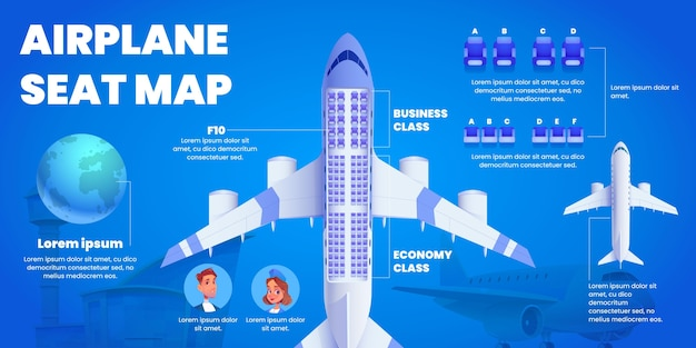 Mapa de asientos de avión ilustrado