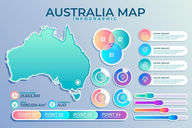 Mapa de australia degradado infografía