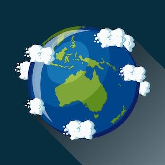 Mapa de australia en el planeta tierra, vista desde el espacio. icono del globo de australia.