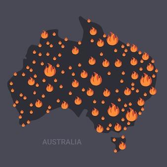 Mapa de australia con símbolos de fuego incendios forestales incendios forestales estacionales calentamiento global concepto de desastres naturales iconos de llamas anaranjadas planas