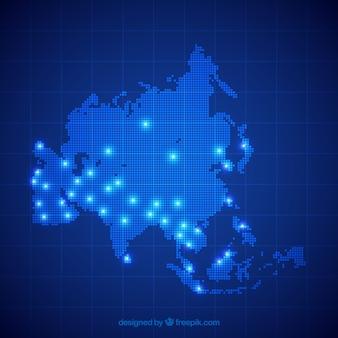Mapa azul de asía con puntos