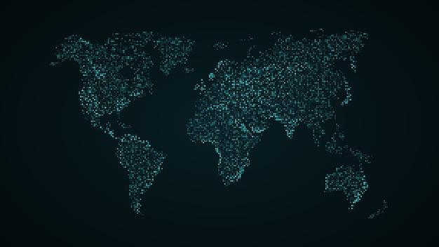 Mapa azul de la tierra desde los puntos cuadrados. conexión de red global, significado internacional.