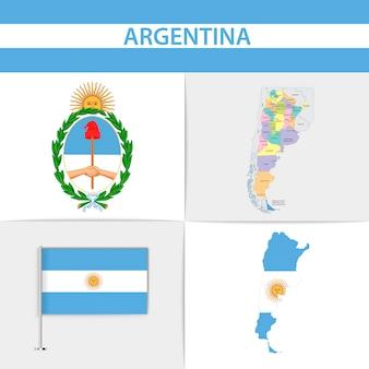 Mapa de la bandera argentina y escudo de armas