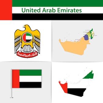 Mapa de la bandera de emiratos árabes unidos y escudo de armas