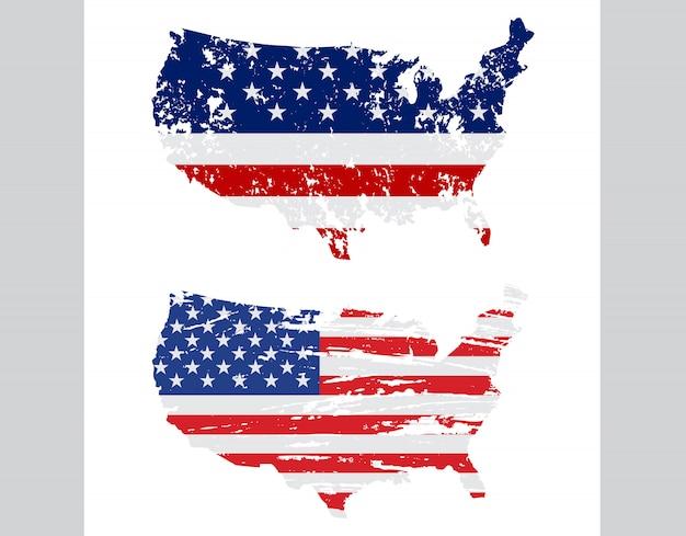 Mapa de bandera de estados unidos en estilo grunge