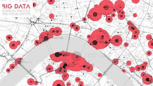 Mapa de big data en ciudad moderna