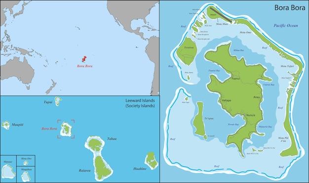 Mapa De Bora Bora Vector Premium