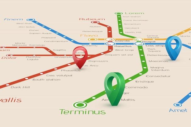 Mapa borroneado de rutas de metro y punteros