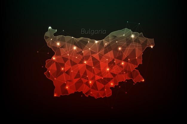 Mapa de bulgaria poligonal con líneas y luces brillantes