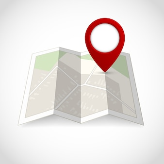 Mapa de la calle de la carretera de viaje con la ilustración del vector del símbolo de la localización