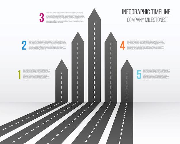 Mapa de carreteras de flecha 3d, viaje infografía.