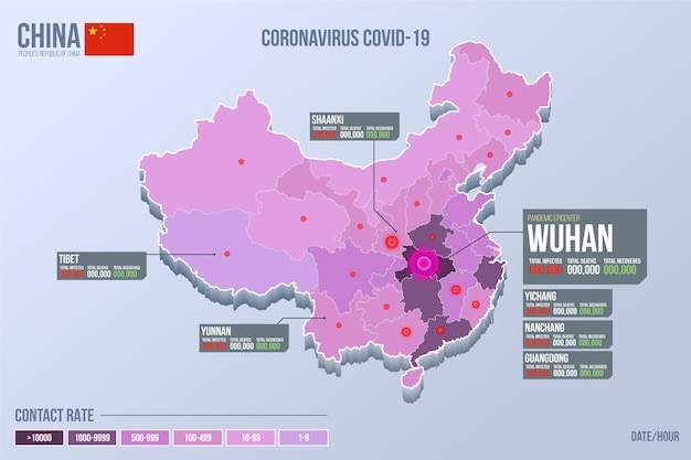 Mapa de china infectado por coronavirus