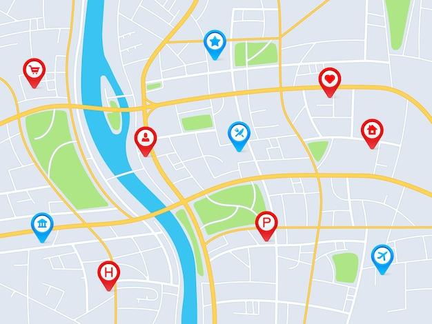Mapa de la ciudad con alfileres