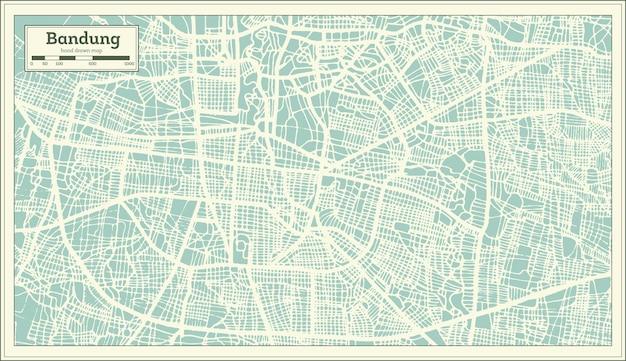 Mapa de la ciudad de bandung indonesia en estilo retro. mapa de contorno. ilustración de vector.
